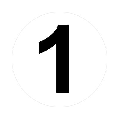 number one 1 math plain number sticker