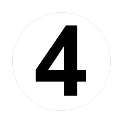 four number four 4 math plain number sticker