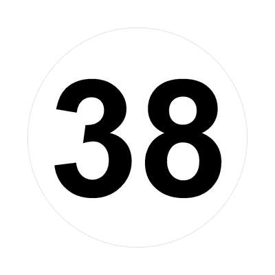 number thirty-eight 38 math plain number sticker