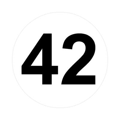 number forty-two 42 math plain number sticker