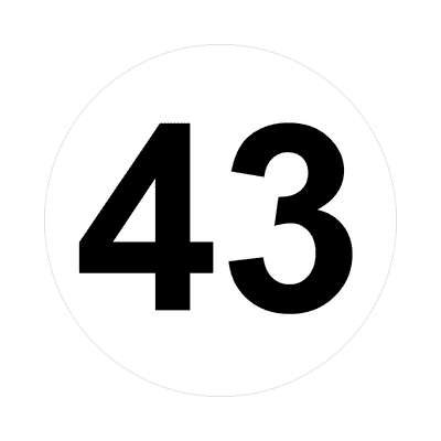 number forty-three 43 math plain number sticker