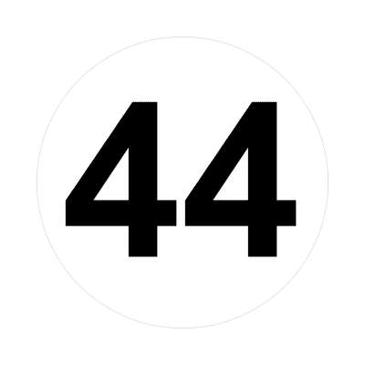 number forty-four 44 math plain number sticker