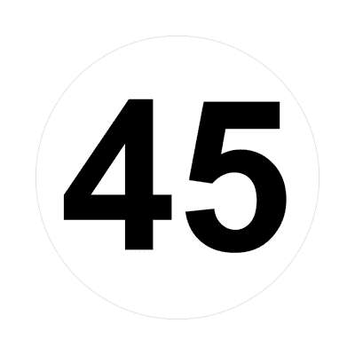 number forty-five 45 math plain number sticker