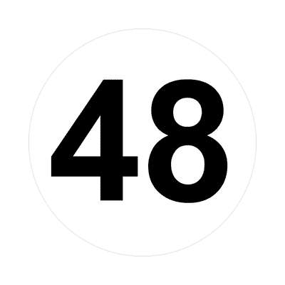 number forty-eight 48 math plain number sticker