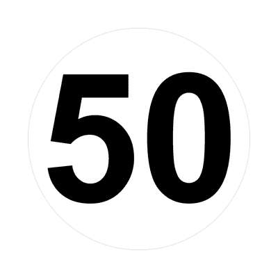number fifty 50 math plain number sticker