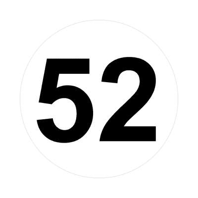 number fifty-two 52 math plain number sticker