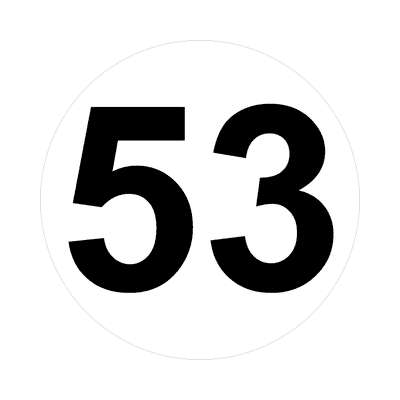 number fifty-three 53 math plain number sticker