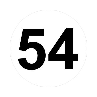 number fifty-four 54 math plain number sticker