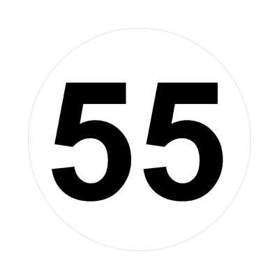 number fifty-five 55 math plain number sticker
