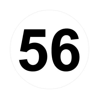 number fifty-six 56 math plain number sticker