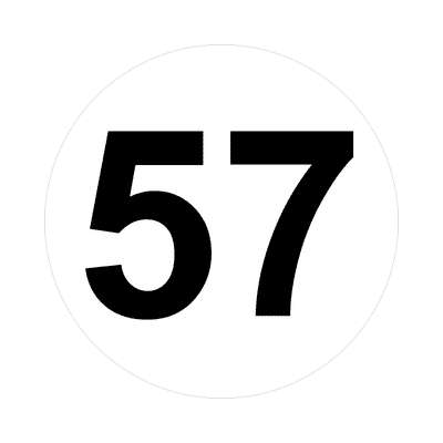 number fifty-seven 57 math plain number sticker