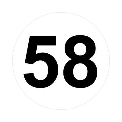 number fifty-eight 58 math plain number sticker