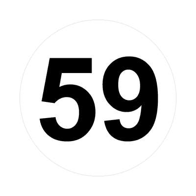 number fifty-nine 59 math plain number sticker