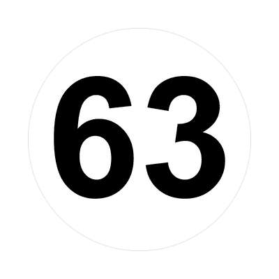 number sixty-three 63 math plain number sticker
