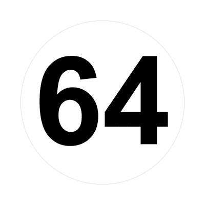 number sixty-four 64 math plain number sticker