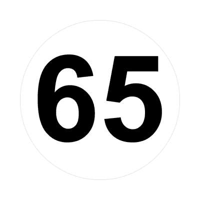 number sixty-five 65 math plain number sticker