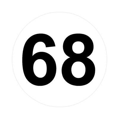 number sixty-eight 68 math plain number sticker
