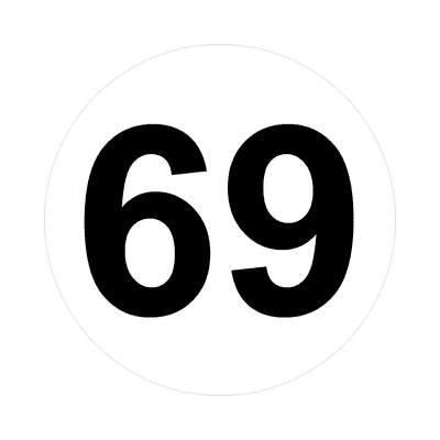 number sixty-nine 69 math plain number sticker