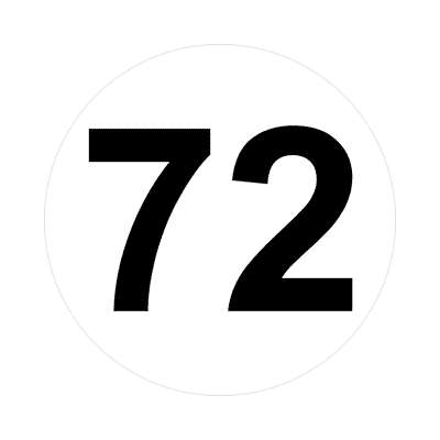 number seventy-two 72 math plain number sticker