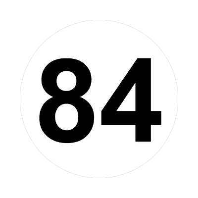 number eighty-four 84 math plain number sticker