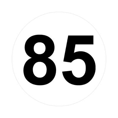 number eighty-five 85 math plain number sticker
