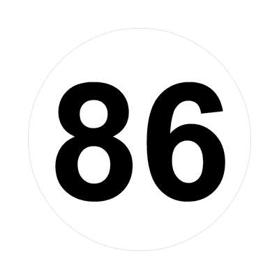 number eighty-six 86 math plain number sticker