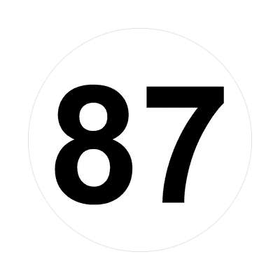 number eighty-seven 87 math plain number sticker