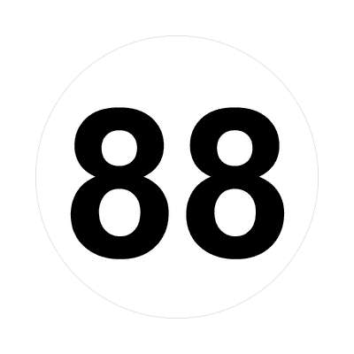 number eighty-eight 88 math plain number sticker