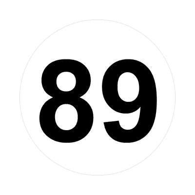 number eighty-nine 89 math plain number sticker