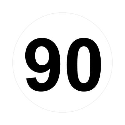 number ninety 90 math plain number sticker