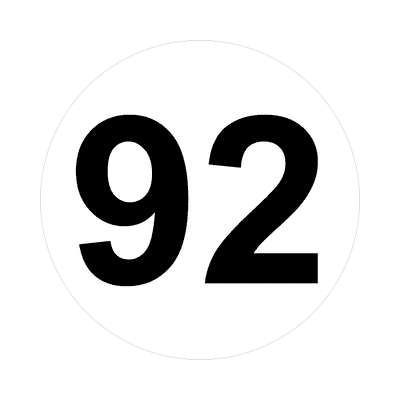 number ninety-two 92 math plain number sticker