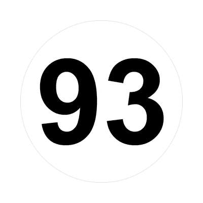 number ninety-three 93 math plain number sticker