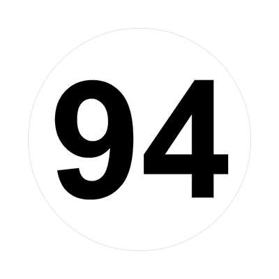 number ninety-four 94 math plain number sticker