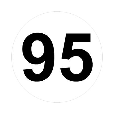 number ninety-five 95 math plain number sticker