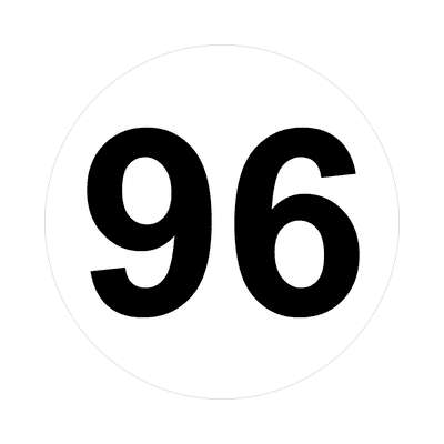 number ninety-six 96 math plain number sticker