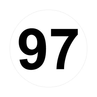 number ninety-seven 97 math plain number sticker