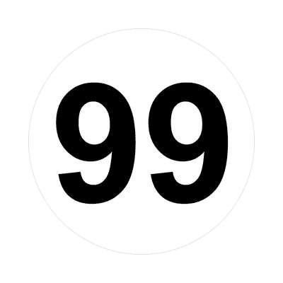 number ninety-nine 99 math plain number sticker