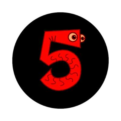 five 5 numbers sticker