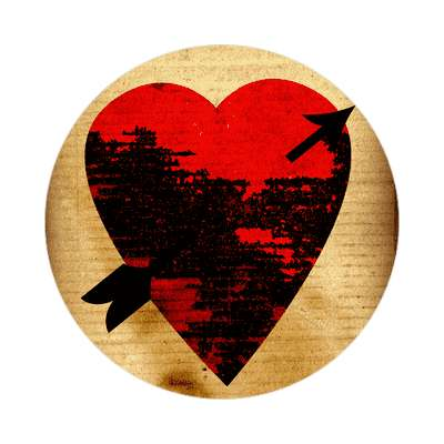 valentines day heart black decay arrow sticker