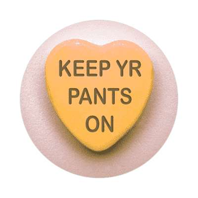keep yr pants on valentines day love candy heart sticker funny sayings hilarious