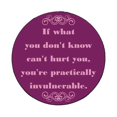 if what you dont know cant hurt you youre practically invulnerable magnet funny sayings funny anecdotes jokes novelty hilarious fun