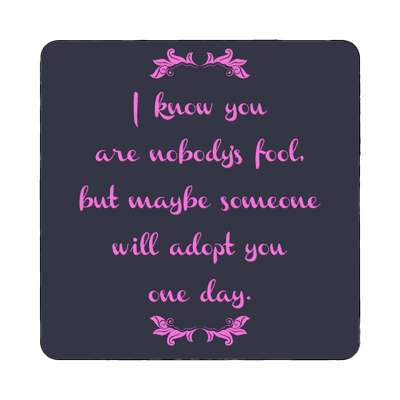 i know you are nobodys fool but maybe someone will adopt you one day magnet funny sayings funny anecdotes jokes novelty hilarious fun