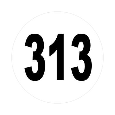 number three hundred thirteen 313 sticker math plain number