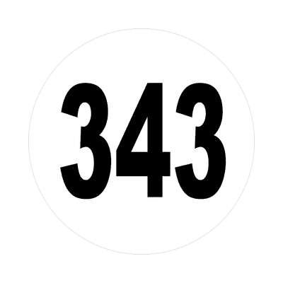 number three hundred fourty three 343 sticker math plain number