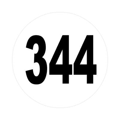 number three hundred fourty four 344 sticker math plain number
