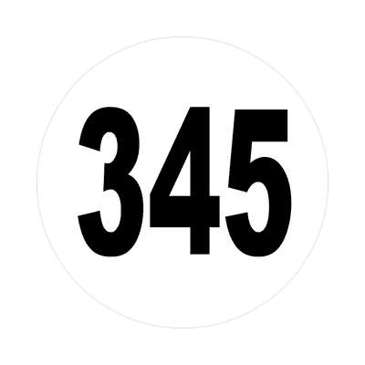 number three hundred fourty five 345 sticker math plain number