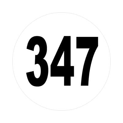 number three hundred fourty seven 347 sticker math plain number