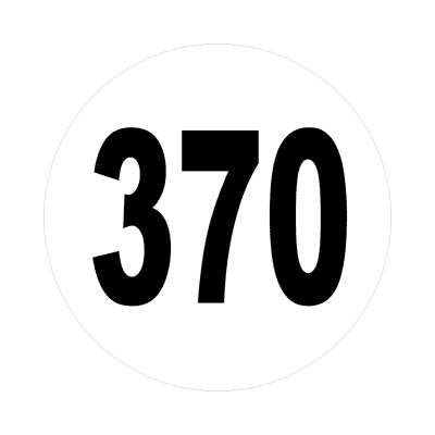 number three hundred seventy 370 sticker math plain number