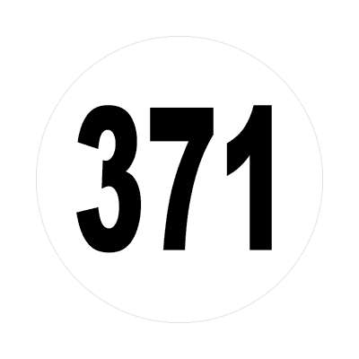 number three hundred seventy one 371 sticker math plain number