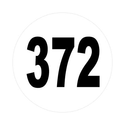 number three hundred seventy two 372 sticker math plain number